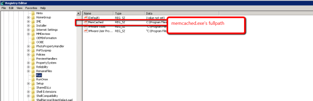 Add memcached.exe to startup in Registry